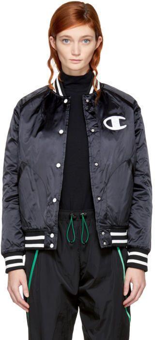 8d50cd72d2a6 Champion Reverse Weave Black Nylon Logo Bomber Jacket   Products ...