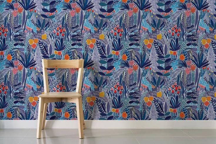 Blue wildflower field floral removable wallpaper / nursery