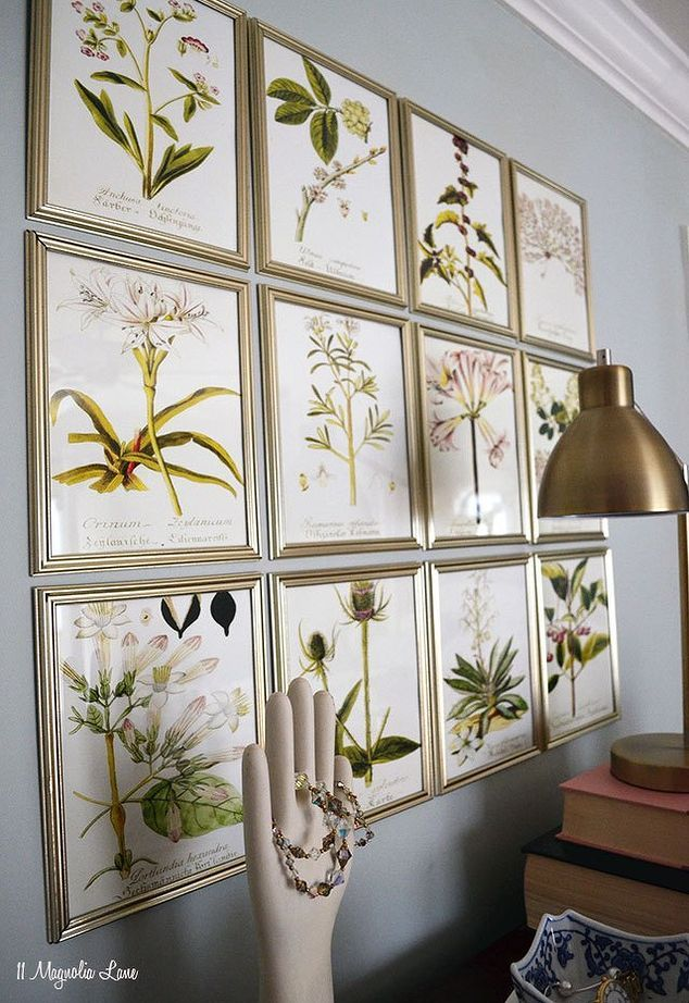 DIY inexpensive botanical gallery wall for under $15.00