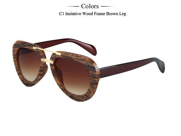 Newest Fashion Hot Sale imitation wood Frame Sunglasses Women Round Vintage Glasses Brand Men Sun Glasses oculos de sol MA029