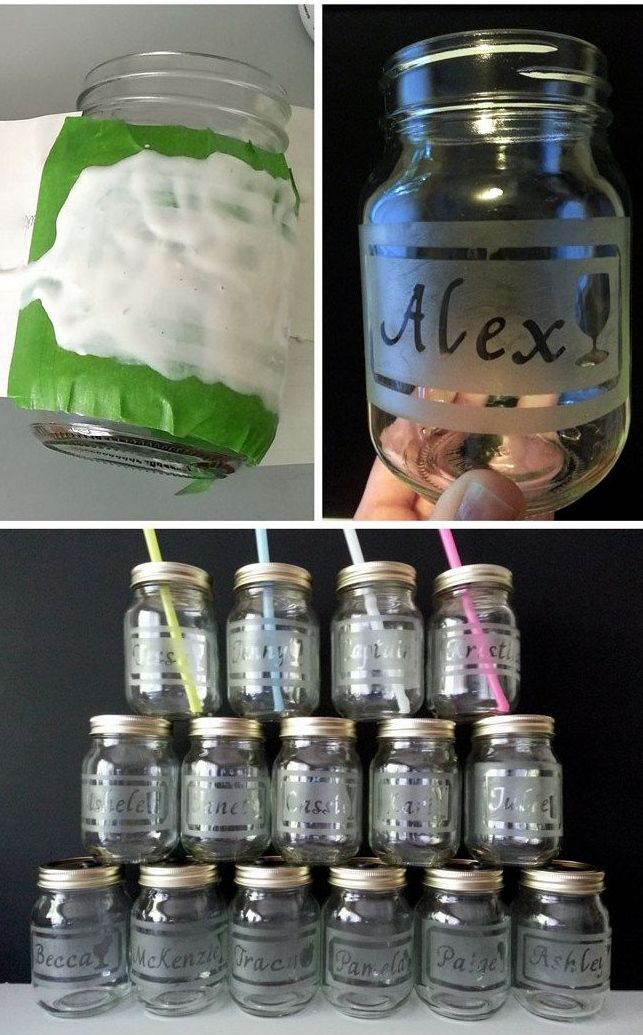 DIY Etched Mason Jar Drinking Glasses. Perfect for parties!