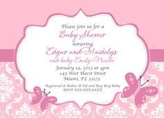 pink Butterfly Baby Shower Invitations pink frame white background