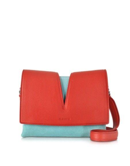 JIL SANDER VIEW SMALL RED LEATHER & SKY BLUE VELVET SHOULDER BAG