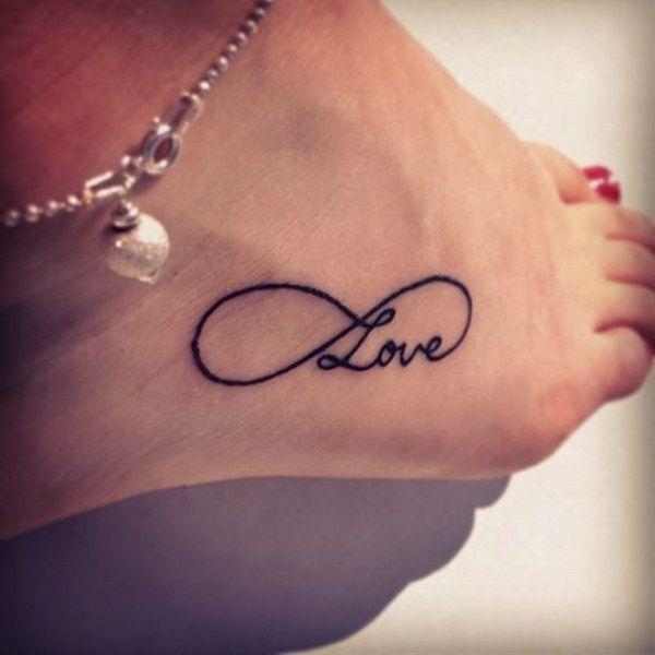 Black Infinity Love Tattoo on Ankle.
