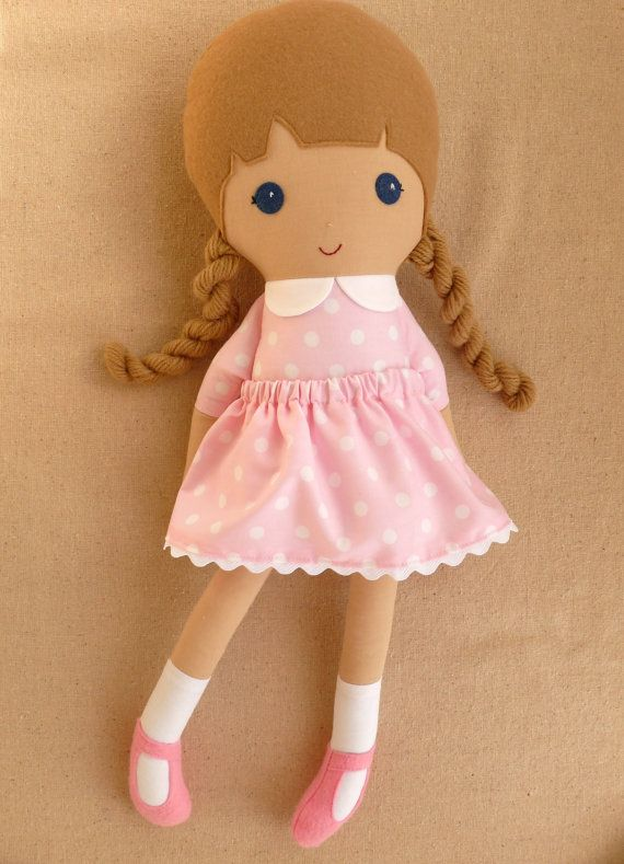 Fabric+Doll+Rag+Doll+Light+Brown+Haired+Girl+in+by+rovingovine