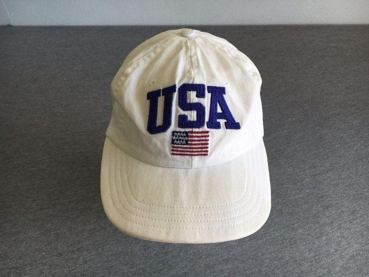 POLO SPORTS RALPH LAUREN HAT 90s VTG USA Flag Stadium Strap Back Rare White  #PoloRalphLauren