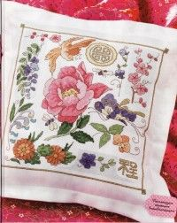 Вышивка крестом: Вышитые диванные подушки с яркими цветами