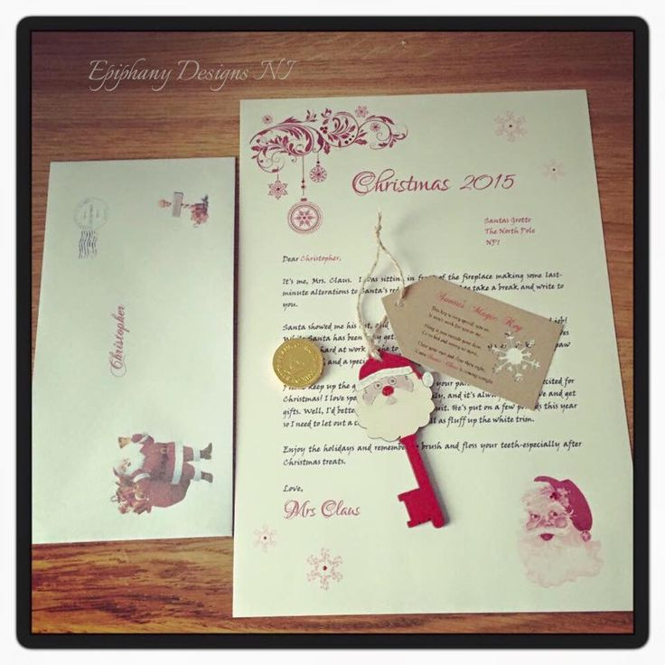 108 best christmas images on pinterest vintage style letter personalised from santa addressed envelope chocolate coin and santa key www spiritdancerdesigns Image collections