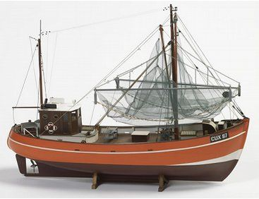 The Billing Boats 1/33 Krabbenkutter Cux 87 wooden ship model measures 55cm long, 43cm high and 16cm wide. This wooden boat kit is highly realistic with many fine details.