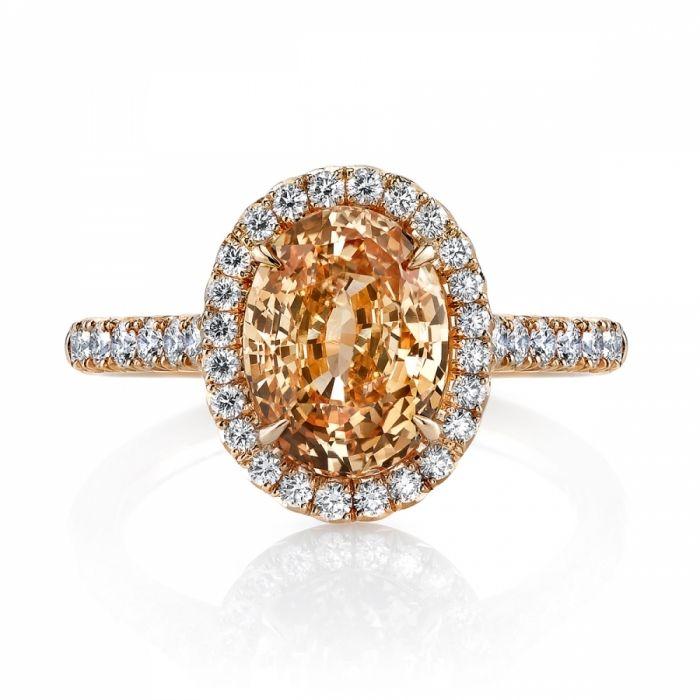 orange diamonds | Omi Gems: Orange Sapphire & Diamond Ring