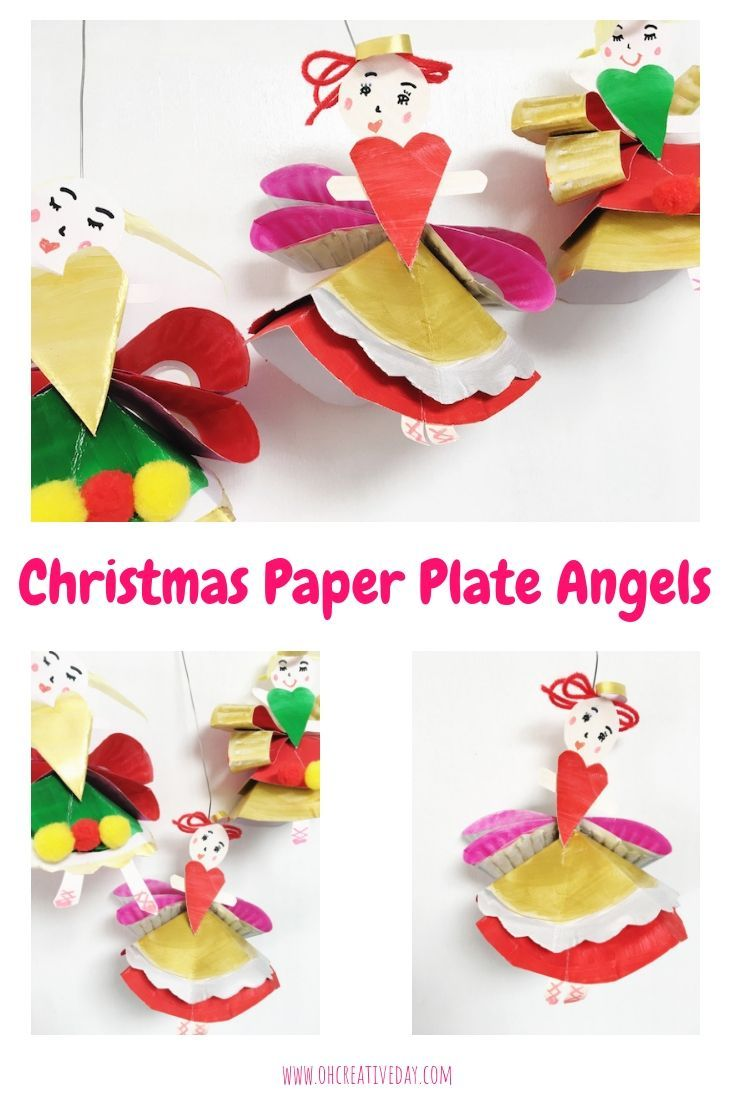 This Christmas angel craft is made out of a humble paper plate. These paper  plate angels would be super-sweet in a garland or on the tree.