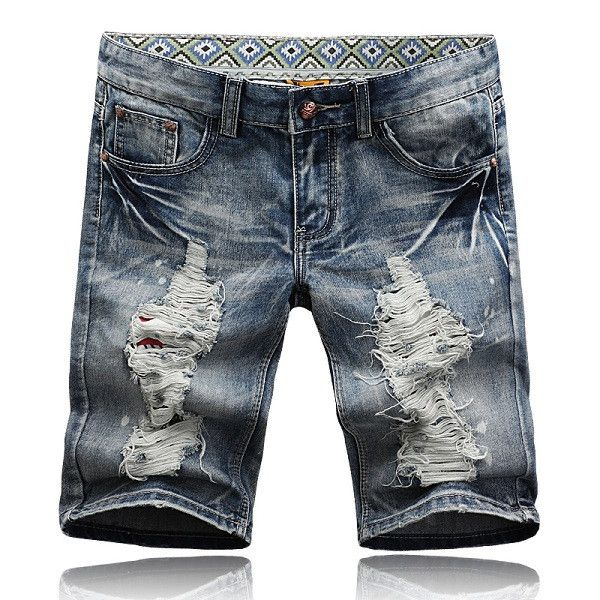 Fashion Ripped Jeans Shorts Distrressed Holes Summer Style Casual Denim Shorts Men 28-38