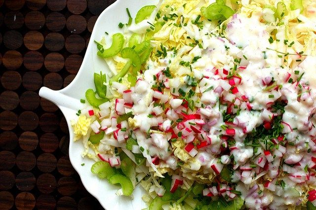 napa salad with buttermilk dressing-1/2c buttermilk, 2 T mayo, 2 T cider vin.,2 T shallot, 1 T sugar, 3 T chives, 1 # napa, 6 radishes, 2 ribs celery