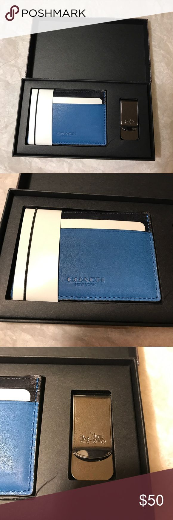 New Coach Men's card holder and Money clip set $75 New Coach Men's card holder and Money clip set $75 blue and black with gun metal clip Coach Accessories Key & Card Holders
