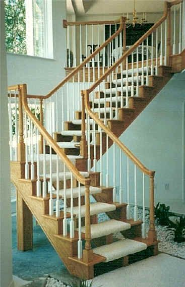 Idea for safety on open staircase plan - carpet wrapped around each stair