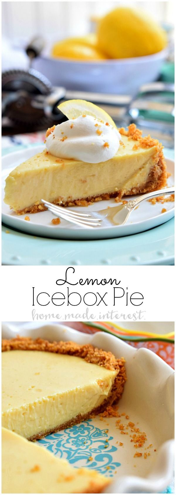 This sweet and creamy Lemon Icebox Pie is a lot like a Key Lime Pie recipe with lemons instead of Key Limes. It is one of my favorite summer dessert recipes with lemons! A creamy lemon filling baked into a graham cracker crust and topped with some fresh w