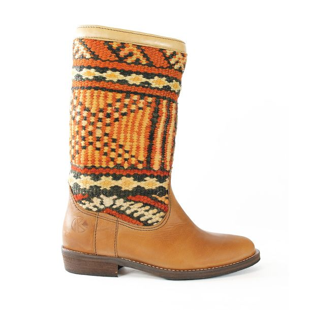 tapestry leather boot