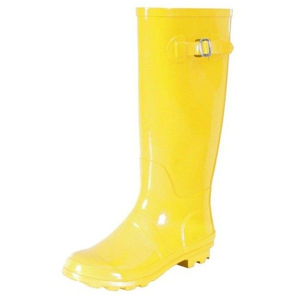 Hurricane II Rubber Rain Boot ($43) ❤ liked on Polyvore featuring shoes, boots, yellow, yellow wellington boots, rubber footwear, rubber boots, water-resistant boots and wellington rubber boots