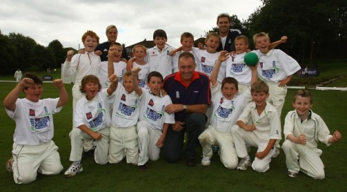 Prestwich Cricket Club. England players Tim Bresnan, Katherine Brunt and Jenny Gunn joined NatWest Cricket Club Captain Michael Vaughan at Copley Cricket Club in Halifax over the August Bank Holiday weekend showing their support for the NatWest CricketForce Fundraiser.