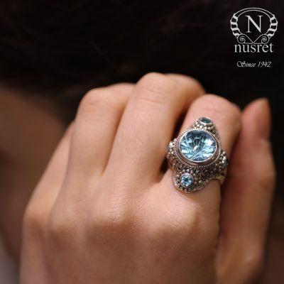 925 Ayar Gümüş Mavi Topaz Taşlı Kalın Tasarım Yüzük