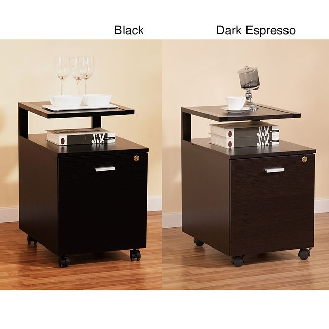 Make organization visually appealing with this modern espresso single-drawer file cabinet. It looks like a side table, so that you can easily disguise your files. It measures, overall, 25' x 16' x 20.5', while the file is copious at 16' x 14' x 18'.