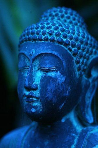 Stunning cobalt blue statue of Budhha.