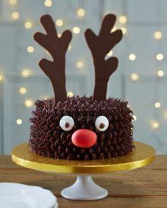 decoration gateau de noel facile, motif rudolphe le renne de père noel, nez rouge en bonbon, des yeux en sucre et bois marron