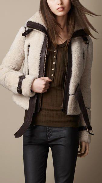 Burbery - Leather Trim Shearling Jacket - Lyst