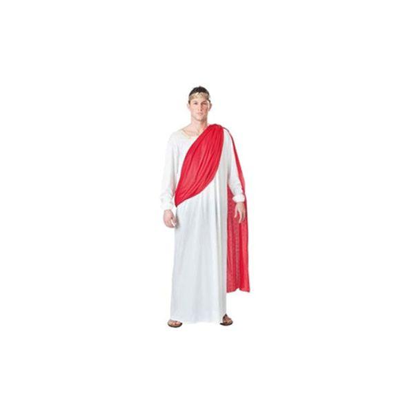 Romeinse keizer kostuum. Voordelig kostuum bestaande uit een witte tuniek met rode toga. Het kostuum is one size en valt als ongeveer een maat L. Exclusief lauwerkrans. Carnavalskleding 2015 #carnaval