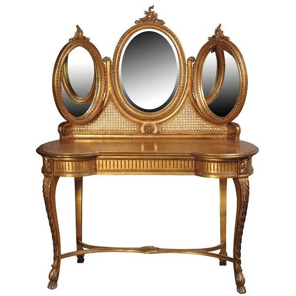 Versailles Gold Triple Mirror Dressing Table ($1,245) ❤ liked on Polyvore featuring home, furniture, tables, gold table, gold leaf table, drawer table, drawer furniture and gold furniture