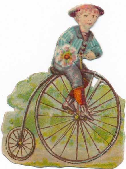 3 Very  Rare victorian DIE CUT 1890 s bike penny farthing bicycle BR