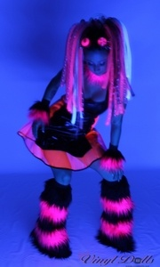 Striped Black / Hot Pink UV neon Fuzzy Leg Warmers, Rave Fluffies, Boot Covers