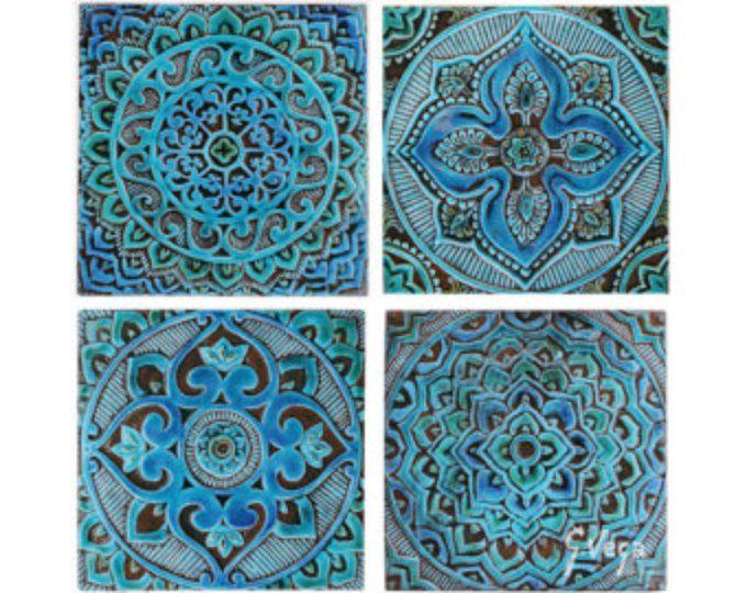 Keramische tegels / / decoratieve tegels / / wand tegels / / badkamer tegels / / Hand geschilderde tegels / / tegel kunst / / Mandala set van 4 tegels / / Turquoise