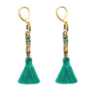 € 16,50 Earrings Tassel green gold semi precious stones Ibiza Style