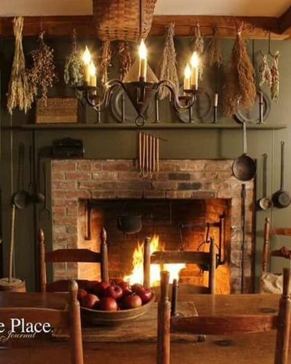 A Primitive Place  I absolutely love everything about this picture. Wish I had a fireplace in my kitchen