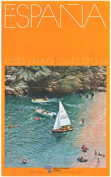 La Costa Brava de Cataluña en un #poster de #turismo de España del año 1970 / #Spain #travel #tourism #vintage #viajar
