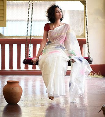 Cotton Sarees - White Handloom With Pink And Green Flower By Suta - PC - 15735 - Thumbnail