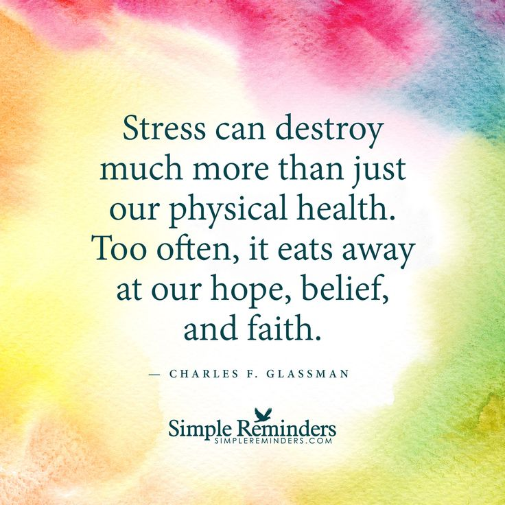 Stress can destroy much more than just our physical health by Charles F. Glassman with article by Sylvia Huang