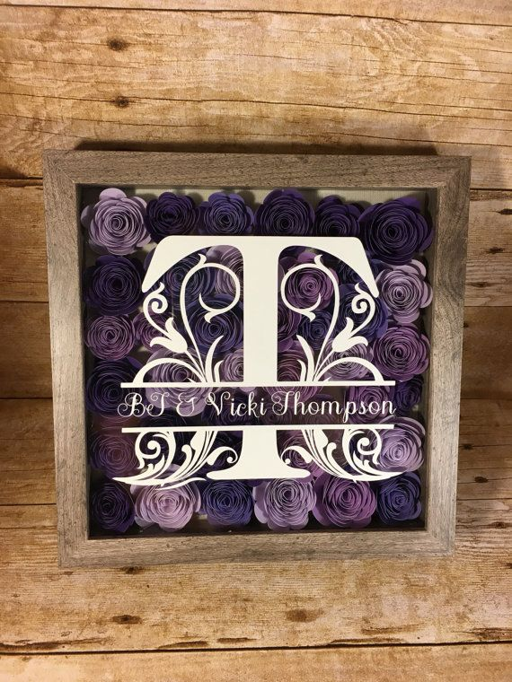 Monogrammed Flower Shadow Box/ wedding gift/ gallery wall/ flower decor/ newlywed gift/ housewarming/ paper flowers/personalized/ valentines