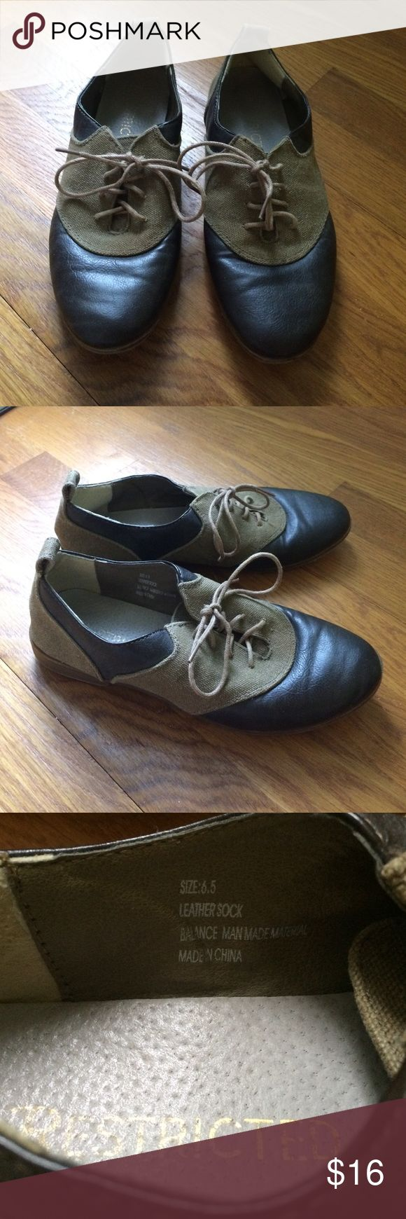 Lace-Up Oxfords Dark brown leather and cloth upper with small heel Restricted Shoes Flats & Loafers