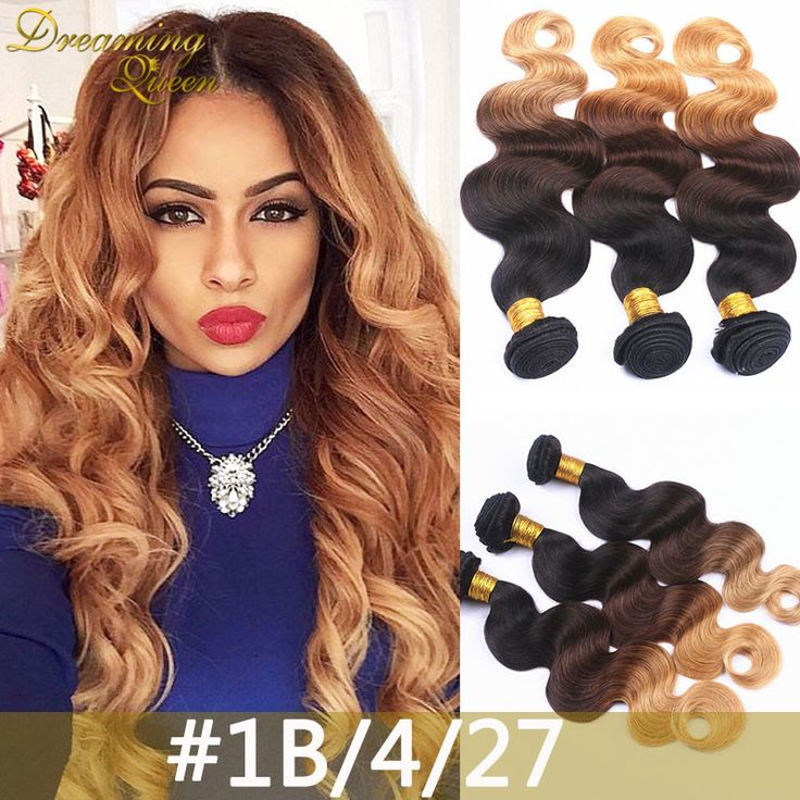Mongolian Body Wave 3 Bundles Two Tone Three Tone Human Hair Weave #27, 1B/27, 1B/4/27, 1B/4/30 Ombre Mongolian Hair Extensions