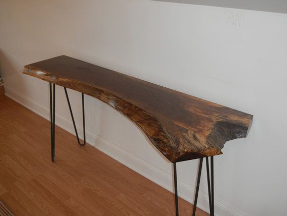 Live Edge Cherry Console Table With Hairpin Legs / Mid Century Modern /  Hall Table /Sofa Table / Industrial /Natural Edge