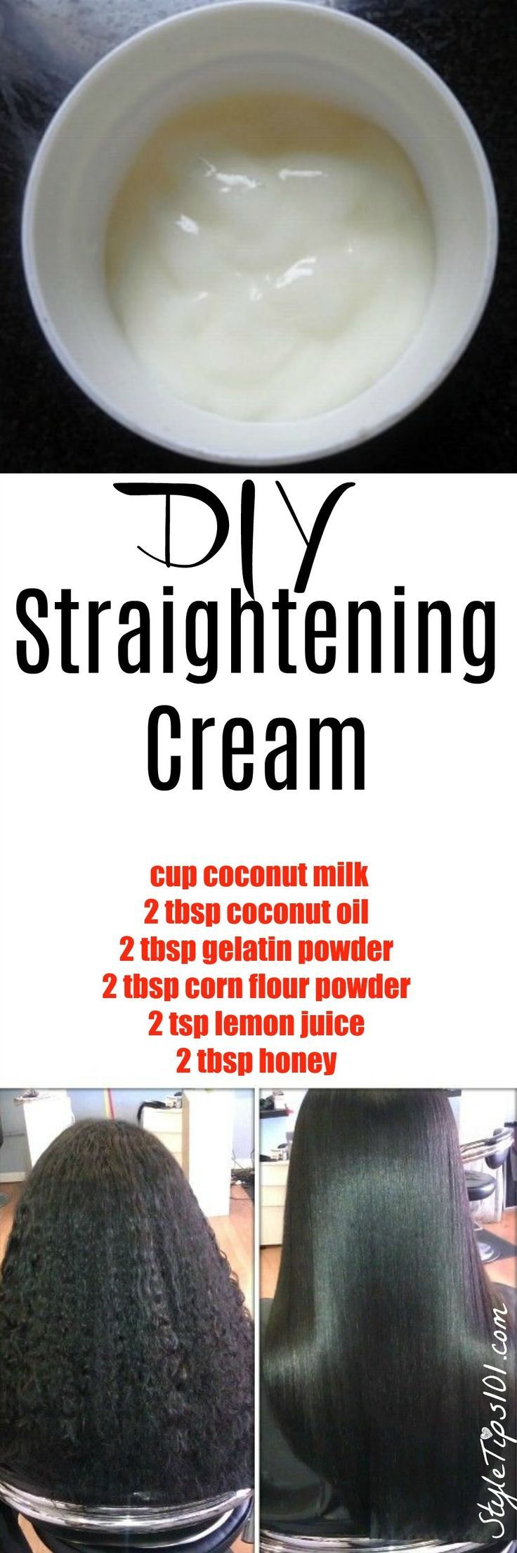 DIY Hair Care  & Tips : DIY Hair Straightening Cream