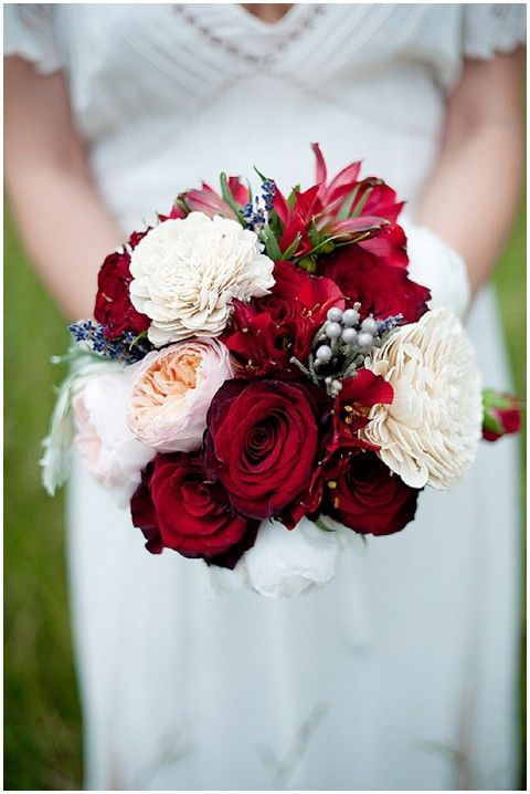 Red and white bridal bouquet.  Flowers of Charlotte loves this!  Find us at www.charlotteweddingflorist.com