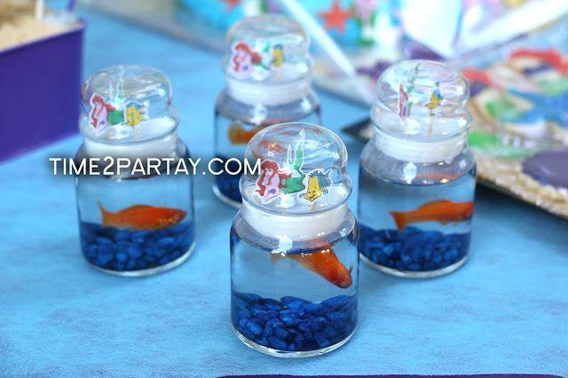 "mermaid baby birthday theme  | customized the jar to match ""The Little Mermaid"" theme. Super cute!"