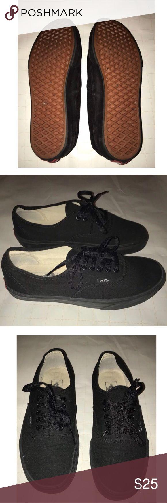 🔥SALE🔥Classic Black Vans shoes Vans The Authentic, Vans original and now iconic style, is a simple low top, lace-up with durable canvas upper, metal eyelets, Vans flag label and Vans original Waffle Outsole. Men's size 8, Women size 9.5 Vans Shoes Sneakers