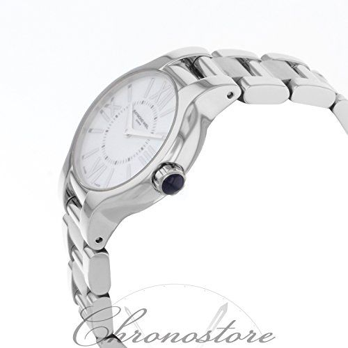 Raymond Weil Women's 5927-ST-00907 Noemia Mother-Of-Pearl Roman Numerals Dial Watch  Raymond Weil S.A. turns 30 years old in 2006. This relative newcomer to watchmaking circles has already defined a niche for itself. Its Parsifal line, launched in 1991, is easily recognizable and enjoys considerable success. Named for classical and operatic music, Raymond Weil's watch collections are simultaneously modern and classical, embellished with luxurious touches like sapphire cabochons on th..