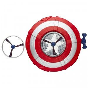 With the Avengers: Age of Ultron Captain America Star Launch Shield, kids can launch plastic star discs.