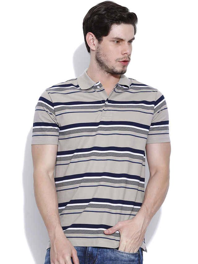 Dream of Glory Inc. Grey Striped Polo T-shirt