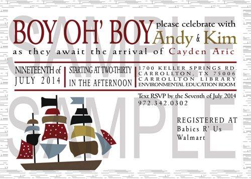 Ship/Pirate Baby Boy Shower Invitation DiY Digital | FindYourDesigns - Digital Art on ArtFire